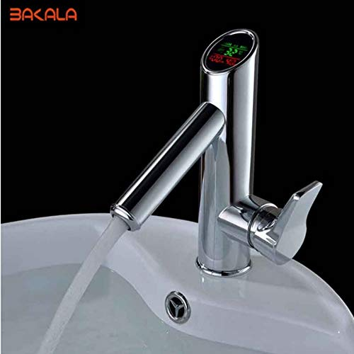 Lddpl Wasserhahn Badezimmer Led Digital Waschbecken Wasserhahn Wasser Power Waschtischmischer.Massivem Messing Verchromt Temperierte Anzeige Wasserhahn Smart Tap -