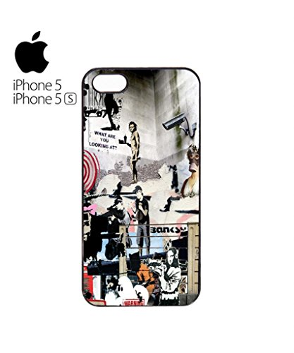 Banksy Street Art Graffiti Mobile Cell Phone Case Cover iPhone 5c Black Weiß
