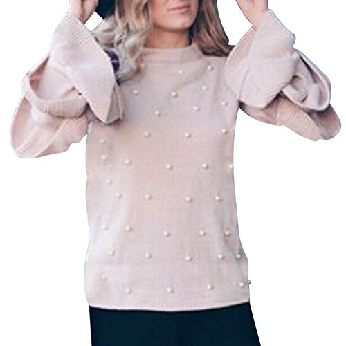 Gereton Langarm-Strickpullover - Damen Pullover Perle Perlen Layered Ruffle Sleeve Jumper
