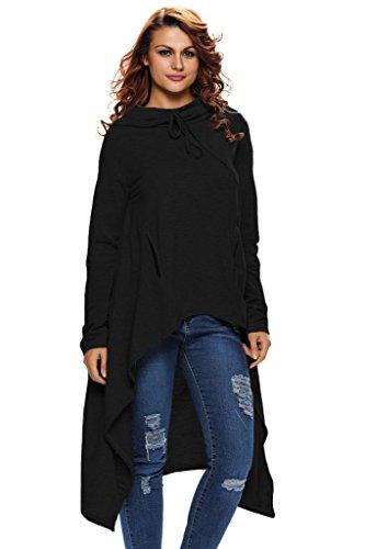 AnnFlat Damen Bluse Gr. L, schwarz (Solid-jersey-henley)