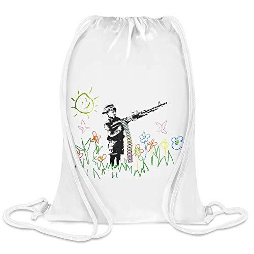 Banksy Maschinengewehr Kid - Banksy Machine Gun Kid Custom Printed Drawstring Sack | 100% Soft Polyester| 5 Liter Capacity| Adjustable String Closure| The Stylish Bag For Every Day Use| Custom ()