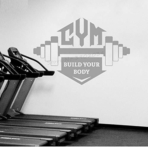 Wandaufkleber Wandtattoo Bodybuilding Fitness Wandaufkleber Sport Gym Fenster Poster Motivation Design Innen Abnehmbare Dekor 60X42 cm