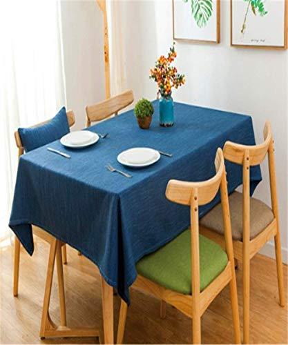 Multi Color Solid Dekorative Leinen Tischdecke Wasserdicht Ölbeständig Starke Rechteckige Hochzeit Esstisch Abdeckung Tee Tischdecke blau 130x130 cm (Tischdecke Roll Blaue)