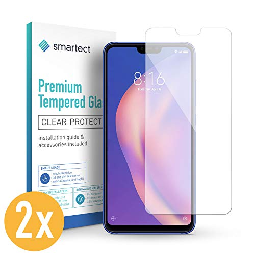 smartect Panzerglas für Xiaomi Mi 8 Lite [2 Stück] - Bildschirmschutz mit 9H Härte - Blasenfreie Schutzfolie - Anti Fingerprint Panzerglasfolie