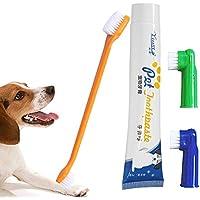 Cepillo de Dientes de Mascota Mallalah Cepillo de Dientes y Pasta de dientes para Perros (Incluye 2 Cepillos de Dientes de Dedos, 1 Cepillo de Dientes de Doble Cara, 1 Pasta de dientes)(Vanilla Flavor)