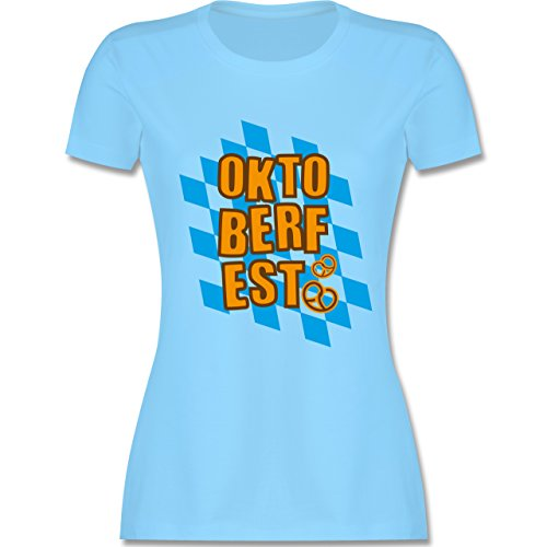 Oktoberfest Damen - Oktoberfest Rauten Brezel - tailliertes Premium T-Shirt mit Rundhalsausschnitt für Damen Hellblau