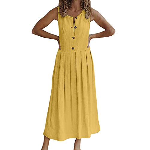 Fashion Womens O-Neck Pure Color Button Sleeveless Sandy Beach Easy Dress