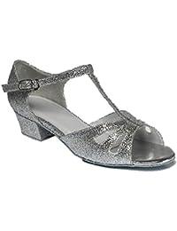"""Niñas Plata Zapatos De Baile De Salón Con brillantina 1,2""""tacón–tallas 9pequeño hasta 5grande"""