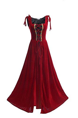 NSPSTT Mittelalter Kleid Retro Renaissance Viktorianisch Oktoberfest Halloween Kostüm Ärmellos Kleidung