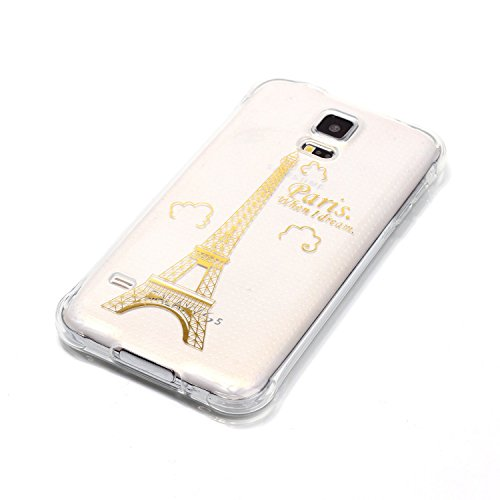 Samsung Galaxy S5 Coque,Samsung Galaxy S5 Gel Motif métallique TPU Case Feeltech Apple iPhone SE Case Silicone Clair Ultra Mince Premium Bumper iPhone 5S Housse Légère Étui Protecteur Transparente Sou Tour d'or