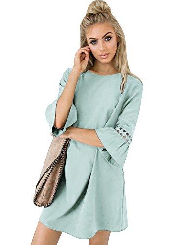 Aitos A Linie Kleider Damen 3/4 Arm Sommerkleid Tunika Elegante Minikleider Strandkleider Partykleid...