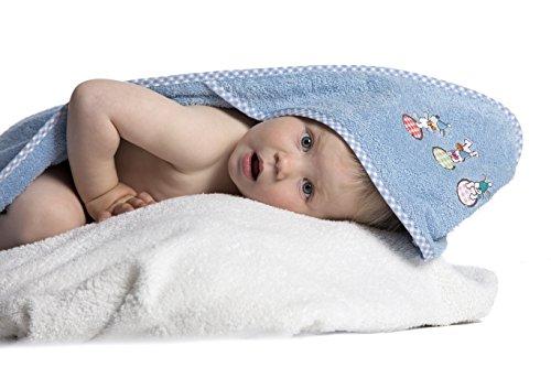 Zollner Kapuzenhandtuch Babyhandtuch aus Baumwolle, hellblau (weitere verfügbar), ca. 100x100 cm