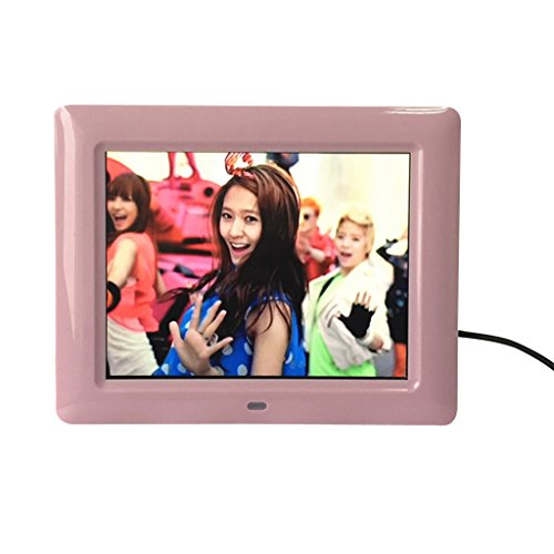 Cuitan Multi-Function 7 Pollici HD Cornice Digitale Digital Photo Frame Cornice Foto Digitale LED Album Digitale LCD Schermo Built-in Kickstand e Stereo Speaker con MP3, MP4, Lettore Musicale, Sveglia, Calendario, Lettore Video, Supporto U Disk, SD, MMC, MS Schede di Memoria con Power Supply e Remote Control - Rosa