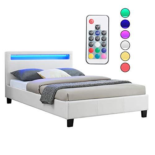 CARO-Möbel Polsterbett MIRASOL mit LED Beleuchtung Einzelbett Kunstlederbett in weiß, 120 x 200 cm, inklusive Lattenrost - Futon-bett Kinder Für