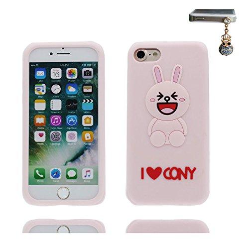 iPhone 7 Plus Custodia, TPU sicuro / Case iPhone 7 Plus Copertura / Shock Dust Resistant Shell iPhone 7 Plus Cover 5.5 e tappi antipolvere / Cartoon 3D coniglio orecchio Nero Rosa 1