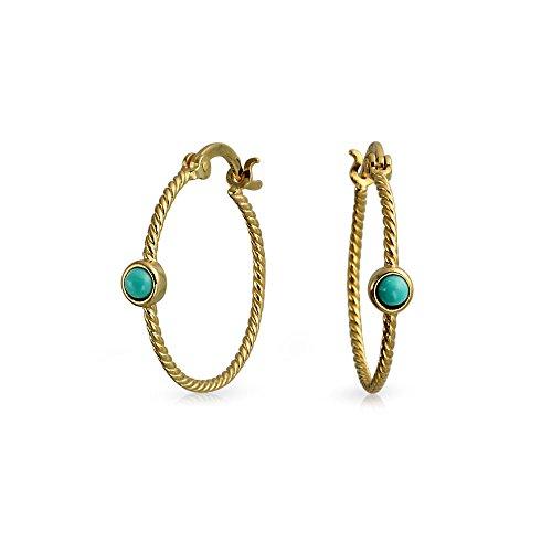 Verdrillte Kabel Seil Schmal Ohrringe Stabilisiert Türkis Akzent Für Damen 14K Vergoldet Sterling Silber Durchmesser (Gold Twisted Creolen)