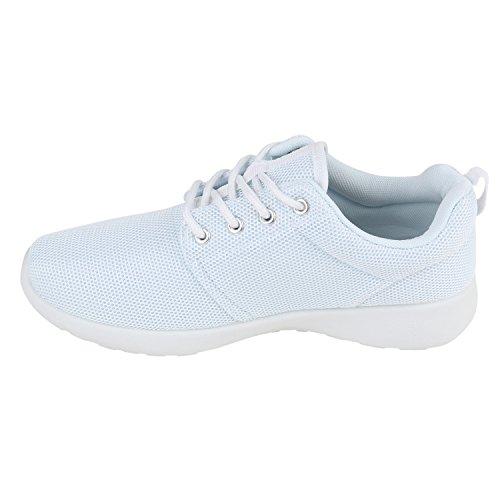 Damen Sportschuhe Muster |Laufschuhe Runners | Sneakers Schuhe Strass Metallic Weiss Total
