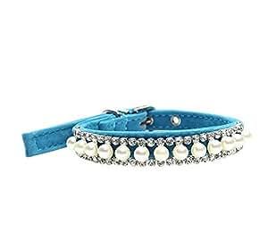 Fonpoo, collare carino, alla moda, per cuccioli di animali domestici, cane, gatto, collare con gioielli e nastri per animali domestici femmina, di piccole e medie dimensioni, con cintura di sicurezza regolabile