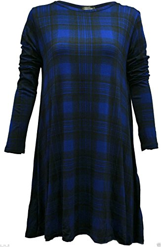 Robe Midi à manches longues Patineuse Swing en jersey évasé Thé Uni Femmes Royal Blue Tartan