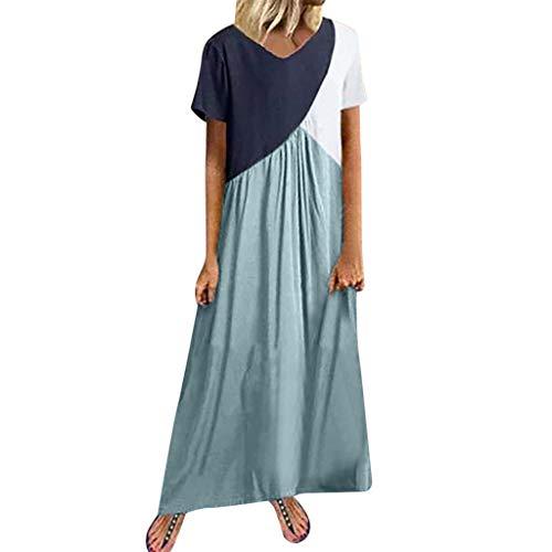 Amcool Neu Damen-Kleid Sommer Kurzarm Drucken Maxikleider Strandkleid O-Ausschnitt Lang Patchwork Lose Partykleid Mode A-Linie Freizeitkleider