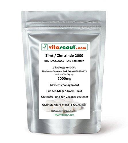 540 Tabletten Zimt/Zimtrinde Extrakt - 2000mg - HÖCHSTE DOSIERUNG - PN: 10272