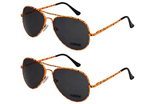 X-CRUZE 2er Pack X06 Klassische Pilotenbrille Fliegerbrille Spiegelbrille Nerdbrille Nerd Vintage...