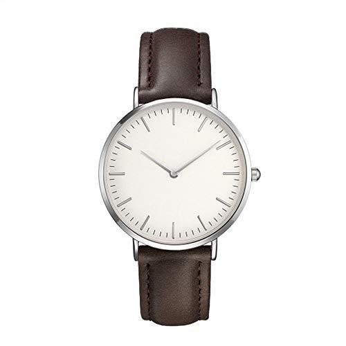 unsex uhren Damen Herren Casual Einfache Quarz Analoguhr Rose Silver Shell Watch(Brown)