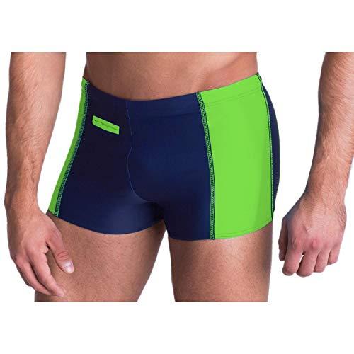 Aquarti Herren Badehose mit Reißverschlusstasche Badeshorts, Farbe: Dunkelblau/Grün, Größe: 7XL (Taille ca. 141 cm)