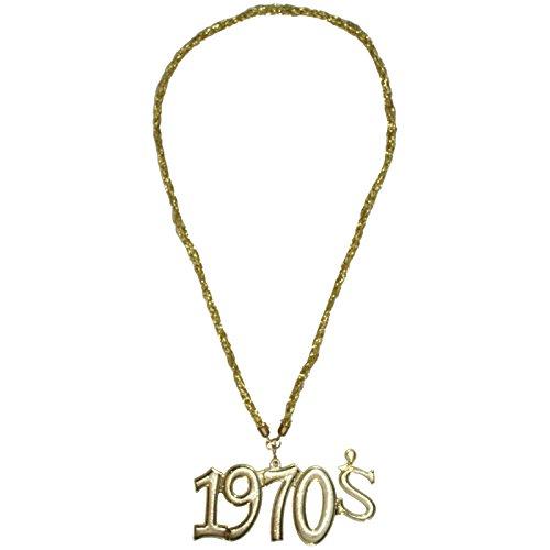 Goldene Kette mit Medaillon 1970 s für 70er Jahre Flower Power (Modeschmuck 1970)