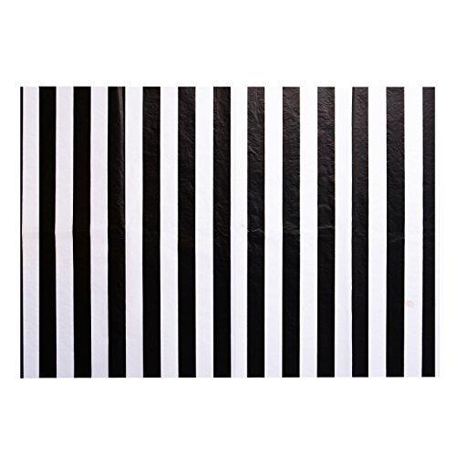 Papel de Seda de Rayas Papel de Embalaje, 28 Pulgadas por 20 Pulgadas, 30 Hojas (Negro y Blanco)
