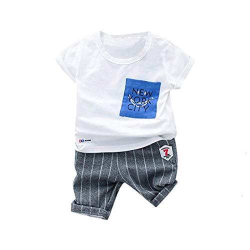 JUTOO Kleinkind Kind Baby Jungen Mädchen Brief T-Shirt Tops + Streifen Shorts Outfits Set (Weiß 1,90/10)