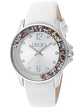 LIU JO TLJ998 Dancing Colored Stones Uhr Damenuhr Lederarmband Edelstahl 5 bar Analog Weiß