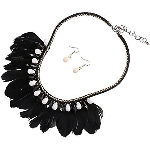 Juegos de Joyería Colgante Collar Boho de Pluma Borla de Perlas Cristal Tribales - Negro