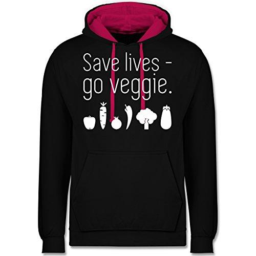 Küche - Save lives - go veggie - Kontrast Hoodie Schwarz/Fuchsia