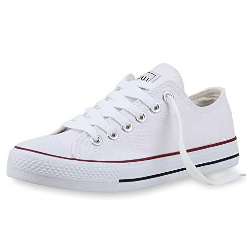 Sportliche Unisex Sneakers | Low-Top Modell | Basic Freizeit Schuhe | Stoffschuhe Weiss Rosso