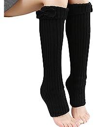 Calcetines de TININNA, de punto de ganchillo, para mujer, de rayas, con lazo negro negro