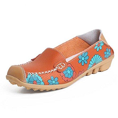 Newbestyle Femmes Chaussures Plates Chaussures Cuir Souple Imprimées Confort Pour Le Printemps et Lautomne Orange