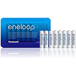 "Panasonic Eneloop BK-4MCCE/8LE ""Ready-to-Use"" Batterie Ni-MH AAA Micro, Pack de 8 Blanc"