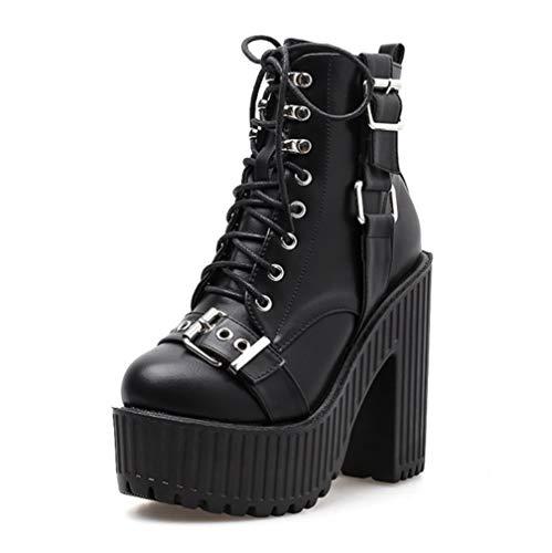 SHANGWU Frauen Damen Gothic Rock Punk Schnalle Heels Plattform Stiefeletten Frauen Block Chunky Heels Mode Mittlere Waden Stiefel Feste Niet Kurze Stiefel (Farbe : Schwarz, Größe : 36) -
