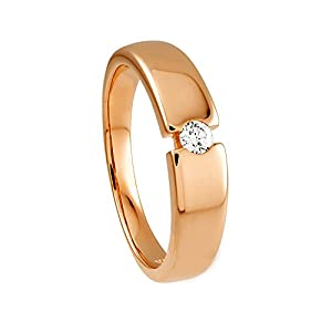 Diamond Line Damen – Ring 375er Gold 1 Diamant ca. 0,12 ct., roségold