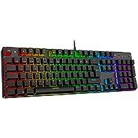 havit Mechanische Gaming Tastatur, QWERTZ Tastatur (Deutsches Layout) mit roten Schaltern, Mechanische Tastatur für PC Gamer und Arbeits, Schwarz (HV-KB432L)