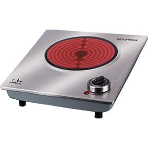 Jata V531 Cocina Eléctrica Vitrocerámica 1 Fuego con Una Placa de 18 cm Cuerpo de Acero Inoxidable Termostato Regulable…