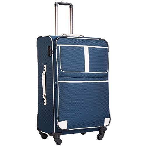 COOLIFE Stoff-Koffer Rollkoffer Leichtgewicht Reisekoffer Vergrößerbares Gepäck mit TSA-Schloss und 4 leiser Rollen (Blau, Mittelgroßer Koffer)