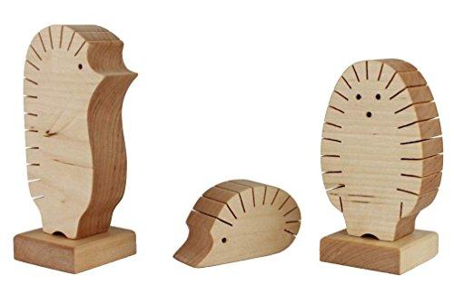 WoodBi | Igelfamilie als Fotohalter oder Visitenkartenhalter | Für alle Fotos oder Visitenkarten geeignet | Massivholz (Birke) -