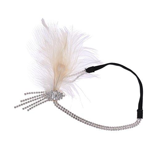 MagiDeal Vintage Haarband 20er Jahre Stirnband mit Weiß Feder Party Kostüm Accessoires für Damen Mädchen - Typ 2