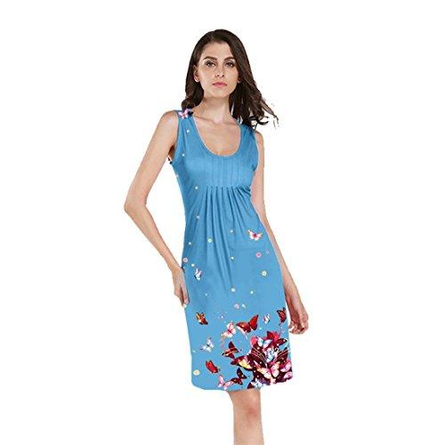 Kleider Party,Damen Kleid Sommer,FRIENDGG,Mädchen Frauen Ärmellos Schmetterling gedruckt Party Dress Mini Dress Sommerkleid Beiläufig Casual Strand Abendkleid (M, Blau) (Damen-guess Jeans-größe 32)