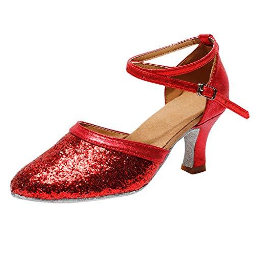 Trisee Sandalen Damen Sommer Sandaletten Mode Glitzer Pumps Schnalle High Heels Kitten-Heel Tanzschuhe Hochzeit Abiball Sandalen Ankle-Wrap Absatzschuhe Geschlossene Sommerschuhe Rote Ankle Wrap