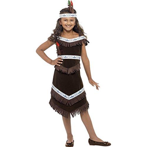 (NET TOYS Indianerin Kostüm Pocahontas Kleid L - 145-158 cm 10-12 Jahre Squaw Kinderkostüm Indianer Verkleidung Mädchen Wildwest Outfit Kinder Western Faschingskostüm)
