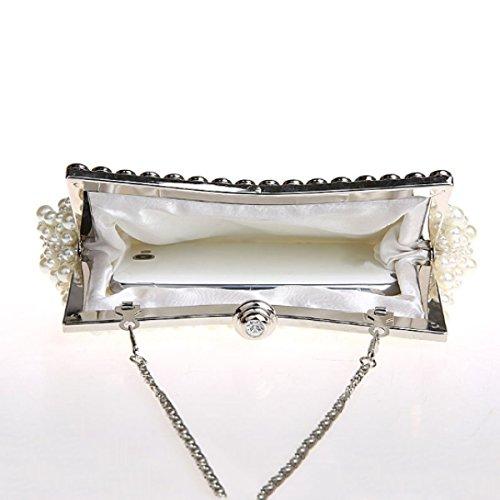 Perlen-Diamant Hochwertige Abendtasche Frauen Brauttasche Handtasche White