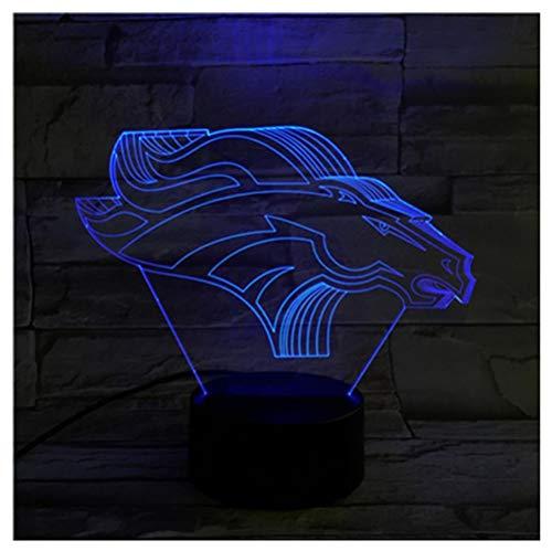 Kleine Laterne Team Denver Horse 3D Licht Bunte Touch Led Geschenk Visuelles Licht Kreatives Produkt Geschenk Licht, D